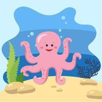 poulpe mignon sur le fond du paysage marin. illustration vectorielle isolé dans le fond marin. concept de design avec mammifère marin. style de bande dessinée vecteur