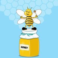 dessin animé mignon abeille mascotte pointant tenant louche de miel debout sur pot de miel et souriant. personnage d'animation. insecte drôle avec un dessert naturel, des aliments biologiques. illustration vectorielle de produit écologique vecteur