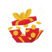 boîte rouge ouverte, boîte cadeau rouge ouverte et confettis, gagner, loterie, quiz vecteur