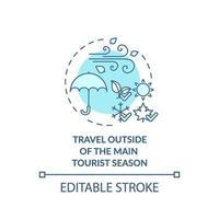 voyager en dehors de l'icône du concept principal de la saison touristique vecteur