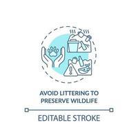 éviter les déchets pour préserver l'icône du concept de la faune vecteur