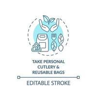 prendre l'icône de concept de couverts personnels et de sacs réutilisables vecteur