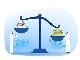 concept de zakat de paie musulmane. loi musulmane et règlements conseiller financier justice. illustration vectorielle de dessin animé plat vecteur