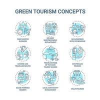 jeu d & # 39; icônes de concept de tourisme vert vecteur