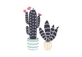 Cactus en pot de linogravure