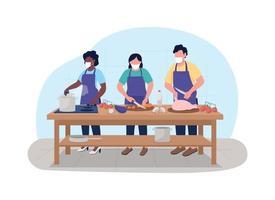 cours de cuisine pendant la bannière web vecteur pandémie 2d, affiche
