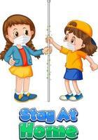 Le personnage de dessin animé de deux enfants ne garde pas la distance sociale avec la police de séjour à la maison isolée sur fond blanc vecteur