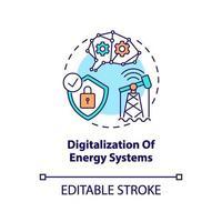icône de concept de numérisation des systèmes énergétiques vecteur