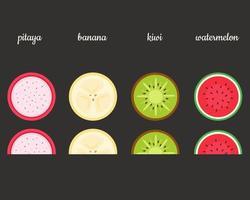 fruits exotiques pitaya, kiwi, banane, pastèque. illustration vectorielle vecteur