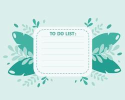 liste de choses à faire, planificateur, modèle d'organisateur sur fond de feuilles. illustration vectorielle vecteur