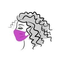 visage d'une belle fille dans un masque médical - logo vectoriel pour un salon de beauté. jeune femme dans un masque de protection de profil. médecine, cosmétologie.