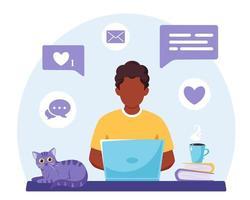 homme afro-américain travaillant sur ordinateur portable. pigiste, étude en ligne, concept de travail à distance. illustration vectorielle vecteur