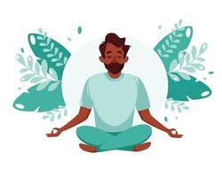 homme noir méditant. mode de vie sain, yoga, méditation, détente, loisirs. illustration vectorielle. vecteur