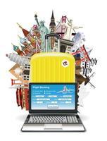 réservation de vol en ligne avec ordinateur portable avec des monuments du monde vecteur