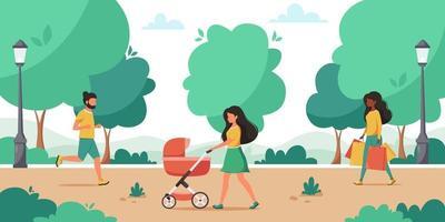 activité du parc. femme qui marche dans le parc avec bébé. homme jogging. activité de plein air. illustration vectorielle vecteur