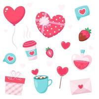 joyeux éléments de la Saint-Valentin. cadeau, coeur, ballon, fraise, lettre d'amour. illustration vectorielle. vecteur