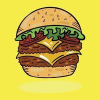 dessin animé coloré burger cheeseburger hamburger restauration rapide illustration vectorielle vecteur