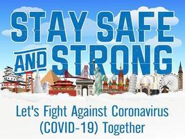 Restons en sécurité et forts, luttons ensemble contre le coronavirus covid-19 vecteur