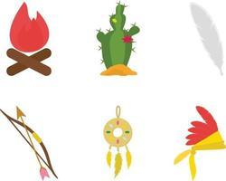 ensemble de vecteurs de conception plate mascotte apache indienne vecteur