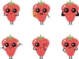 ensemble de vecteur de conception plate de mascotte de fraise