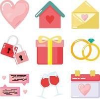 ensemble de vecteur de conception plate icône de mariage