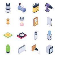 jeu d & # 39; icônes isométrique de matériel technologique vecteur