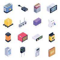 jeu d & # 39; icônes isométrique de gadgets de technologie vecteur