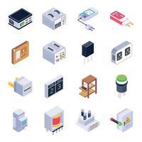 jeu d'icônes isométrique de dispositifs électroniques isométriques vecteur