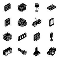 jeu d & # 39; icônes isométrique de composant multimédia et électronique vecteur
