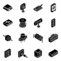 jeu d'icônes isométrique du système audio et des diodes de batterie vecteur
