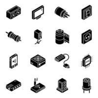 connexion wifi et jeu d'icônes isométrique de base de données vecteur