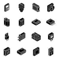 Jeu d'icônes isométrique de composant matériel et de rétroaction vecteur