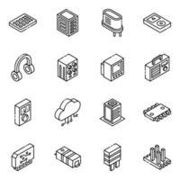Jeu d & # 39; icônes isométrique de composants électroniques et de transistors vecteur