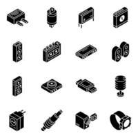 pièces automobiles et jeu d & # 39; icônes isométrique multimédia vecteur