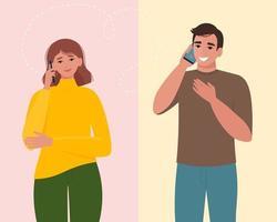 homme et femme parlant au téléphone. communication et conversation avec smartphone. illustration vectorielle dans un style plat vecteur