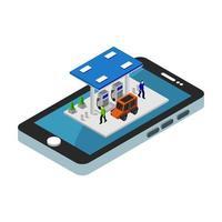 station-service isométrique sur smartphone vecteur