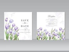 belle carte de mariage aquarelle tulipe vecteur