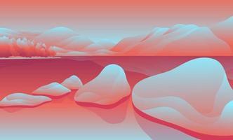 fond de paysage de lac de pierre vecteur