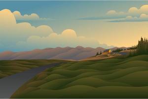 paysage de fond de champ coucher de soleil vecteur