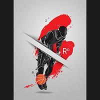 fond d'affiche de peinture silhouette de basket-ball vecteur