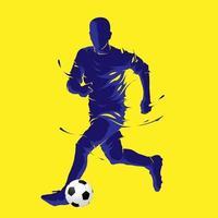 ballon de football football posant silhouette bleue vecteur