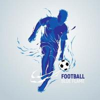 football football, flamme bleue, silhouette vecteur