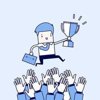 homme d'affaires se battant pour un trophée gagnant. homme d'affaires avec un trophée sautant sur la main d'un challenger. vecteur de style de ligne mince de personnage de dessin animé.