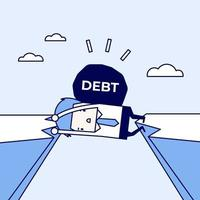 homme d'affaires piégé dans une falaise avec une dette sur le dos. homme d'affaires et crise physique de la dette. vecteur de style de ligne mince de personnage de dessin animé.