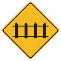 Panneaux d'avertissement passage à niveau avec portes automatiques sur fond blanc vecteur