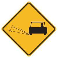 Panneaux d'avertissement surface de la route lâche sur fond blanc vecteur