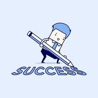 homme d & # 39; affaires avec crayon écrivant le texte de réussite sur le sol vecteur de style de ligne mince de personnage de dessin animé.