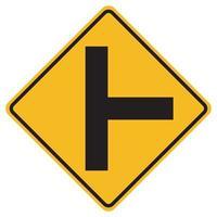 Panneaux d'avertissement carrefour routier côté droit sur fond blanc vecteur