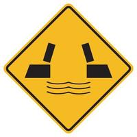Panneaux d'avertissement ouvrant le pont sur fond blanc vecteur