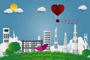 scène urbaine de la saint-valentin vecteur